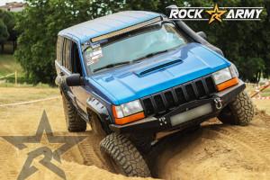 Pare chocs avant acier avec porte treuil et protection de marque Rock Army pour Jeep Grand Cherokee ZJ, ZG